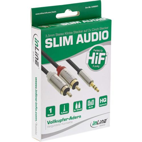 InLine® Basic Slim Audio Kabel Klinke 3,5mm ST an 2x Cinch ST, 1m