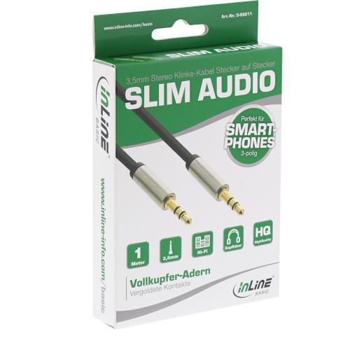 InLine® Basic Slim Audio Kabel Klinke 3,5mm ST/ST, Stereo, 1m