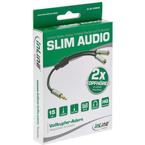 InLine® Basic Slim Audio Y-Kabel 3,5mm Klinke ST an 2x BU, 0,15m