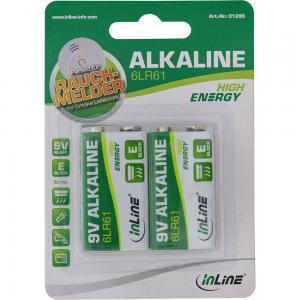 InLine Alkaline High Energy Batterie 9V Block 6LR61 2er Blister