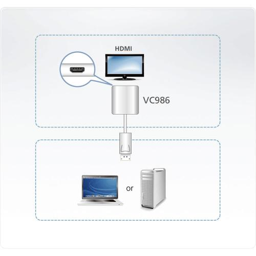 ATEN VC986 Video Konverter DisplayPort zu 4K HDMI Aktiv